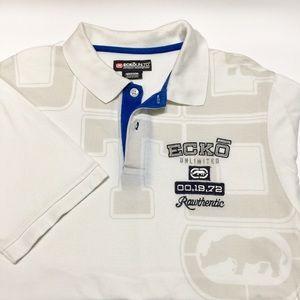 ECKO Men's Polo T-shirt White&Blue with Logo